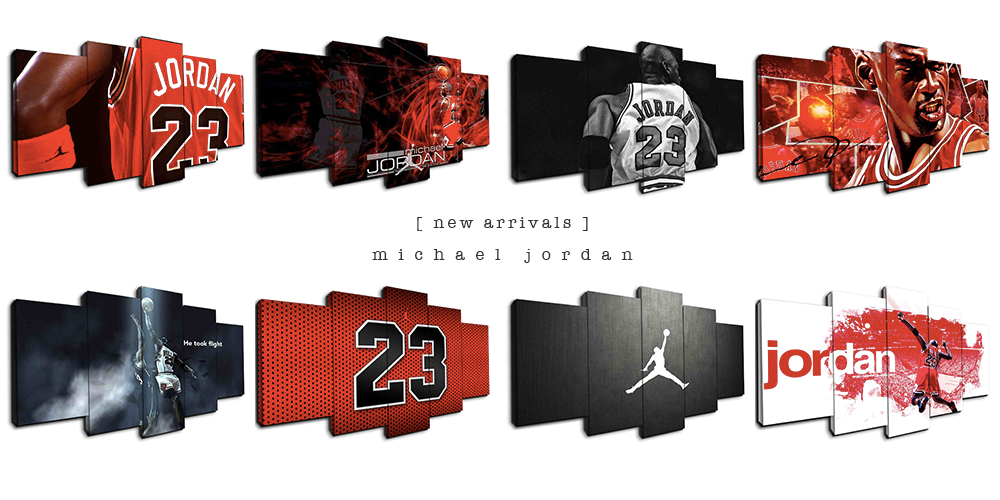 Michael Jordan canvas wall art - 5 panel framed art by panelwallart.com