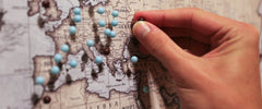 Placing Push Pin on World Map Canvas as travel reference | Panelwallart.com