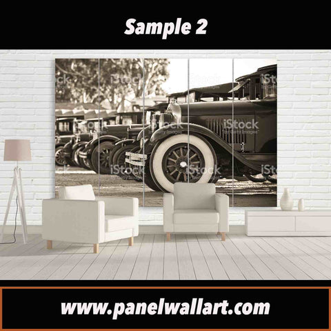 brown vintage car canvas wall art