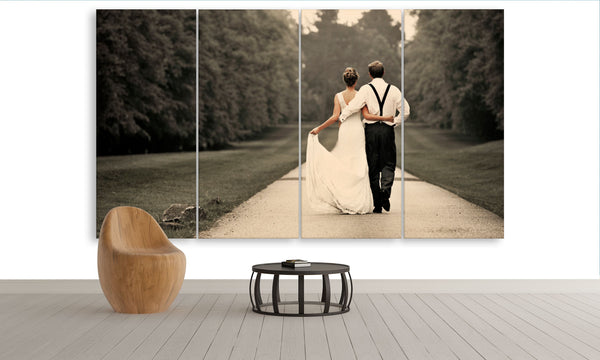 Wedding photo canvas print on multi panel wall art