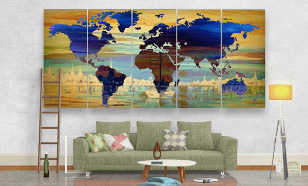 Contemporary World Map Art Prints Canvas Panel Wall Art | Panelwallart.com