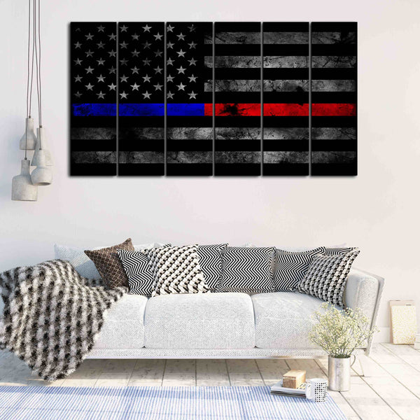 Multi Panel Thin Blue and Red Line canvas wall art retirement gift idea