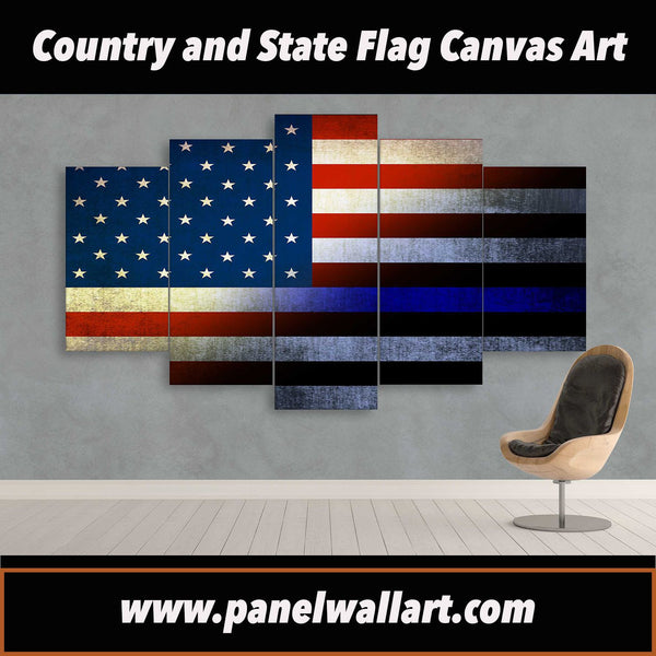 Thin Blue Line on Black and White USA Flag