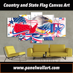 5 panel American Country Flag Art with Eagle canvas art prints