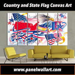 6 panel independence day usa flag canvas wall art