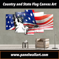 5 panel American Flag Art with Liberity Statue canvas wall art prints