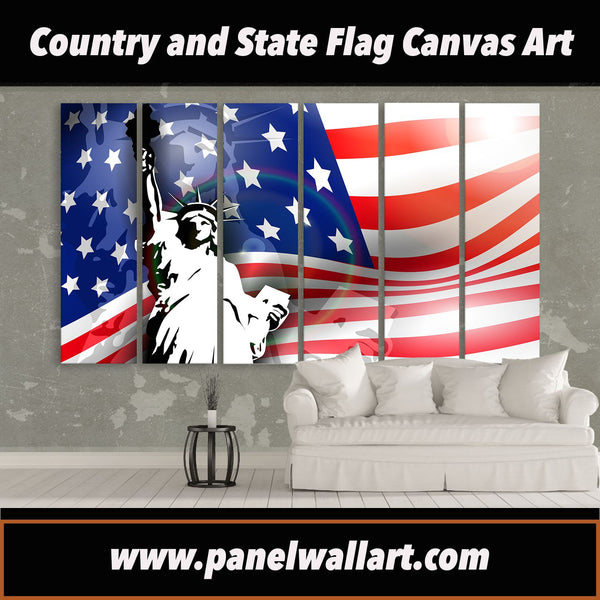 6 panel USA Flag and Liberty Statue canvas wall art prints by panelwallart.com