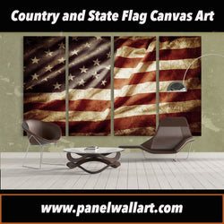 Retro American Flag Cloth 4 panel wall art canvas