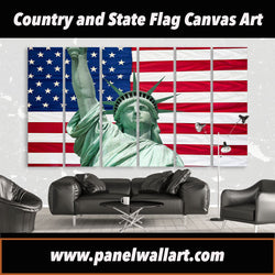 6 panel United States Flag and Liberty Statue canvas wall art