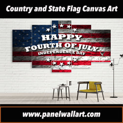 5 panel canvas wall art of USA Flag of Independence Day