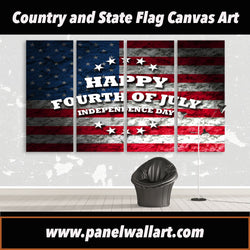 4 panel july 4th canvas wall art