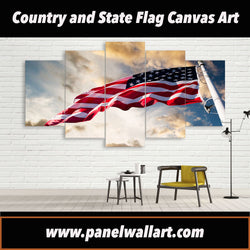 5 panel USA Country Flag in the Sky canvas wall art prints