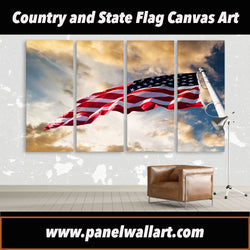 4 panel american flag flying in the sky canvas wall art prints