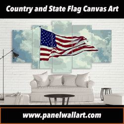5 panel canvas of unique USA Flag Artwork