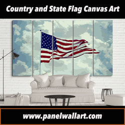 5 panel american flag artwork canvas wall art prints