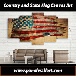 5 panel Flag of American Unique Art prints canvas