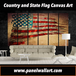 6 panel Exclusive Retro USA Flag Art canvas wall art