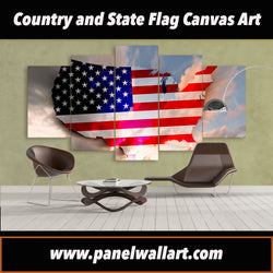 5 panel Unique Art Canvas of American Flag canvas art prints