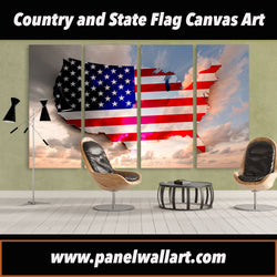 4 panel american flag artwork on usa and sky background canvas wall art prints