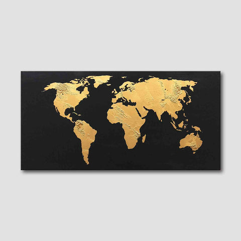 Gold and black world map buy high quality abstract oil paintings 1 panel oil painting gold world map with black background gumiabroncs Image collections