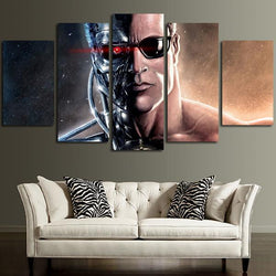 5 panel the terminator canvas wall art ready to hang