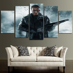 5 panels the terminator ready to fight canvas wall art print 5 pieces