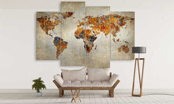 Abstract World Map Canvas Wall Art | Panel Wall Art