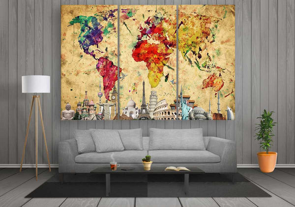 World Map with Monuments (Colourful Abstract)