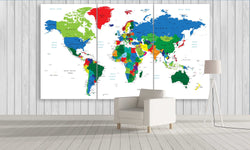 Colourful Travel World Map in White | Push Pin World Map Panel Wall Art by panelwallart.com