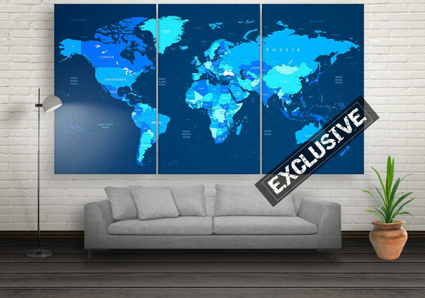 Blue World Map | Push Pin World Map Panel Wall Art by panelwallart.com