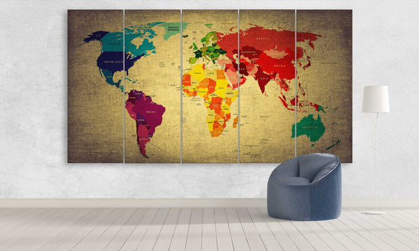 Colourful World Map | Push Pin World Map Panel Wall Art by panelwallart.com