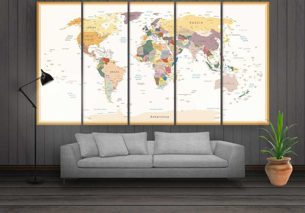 Beige World Map | Push Pin World Map Panel Wall Art by panelwallart.com