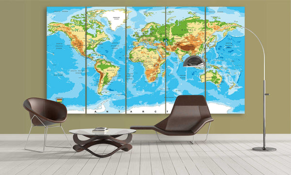 Blue Elevated World Map | Push Pin World Map Panel Wall Art by panelwallart.com