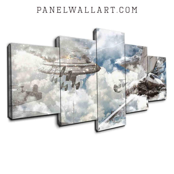 Space Fighter Jets and Falcon canvas wall art prints framed 5 panel wall art