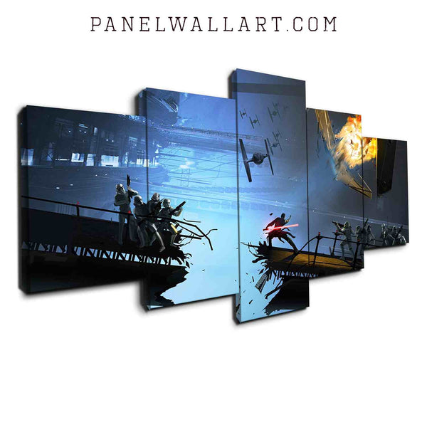 Skywalker Fight canvas wall art prints framed 5 panel wall art