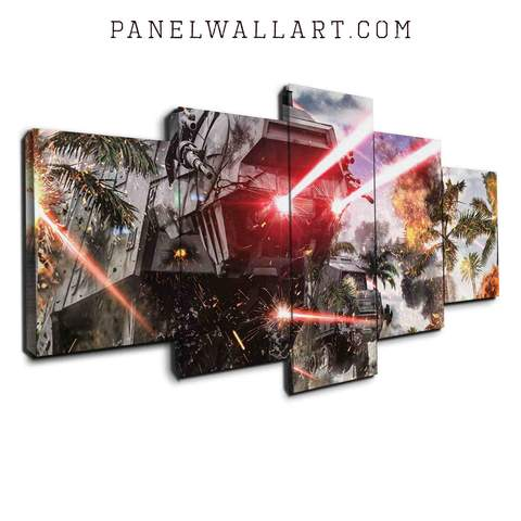 At At Walker in the Battle canvas wall art prints framed 5 panel wall art