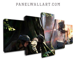 Battle in the Jungle in Star Wars canvas wall art prints framed 5 panel wall art