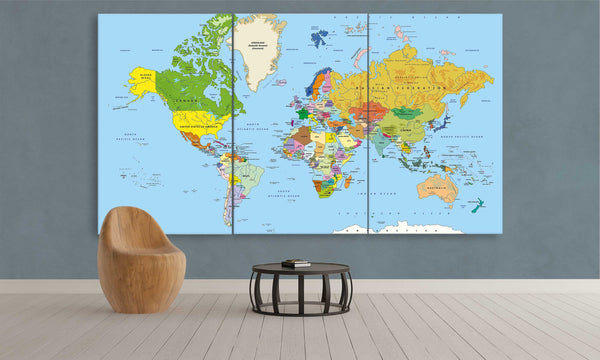 Educational World Map | Push Pin World Map Panel Wall Art by panelwallart.com