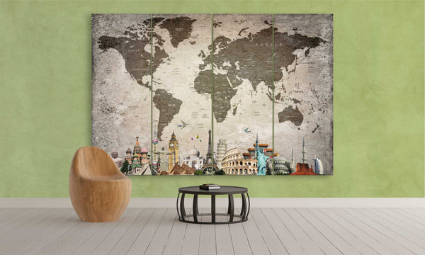 4 panel world map canvas wall art