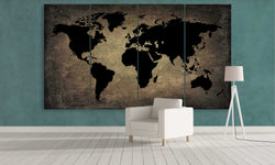 Black World Map On Metal | Push Pin World Map Panel Wall Art by panelwallart.com