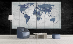 World Map in Aegean Blue | Push Pin World Map Panel Wall Art by panelwallart.com