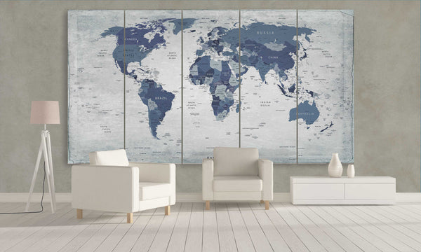 Buy Affordable Multi Panel Push Pin World Map Etsy Panelwallart.com