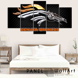 5 pieces Denver Broncos panel wall art canvas