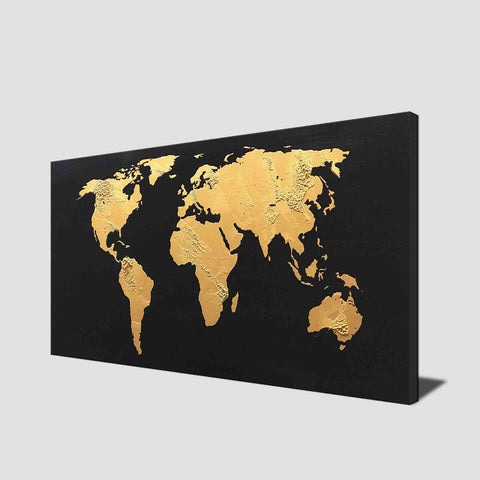 Gold and black world map buy high quality abstract oil paintings 1 panel gold world map with black background gumiabroncs Gallery