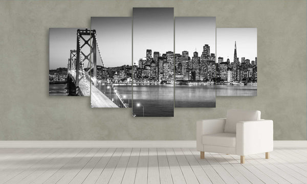 5 panel san francisco bay bridge in black and white