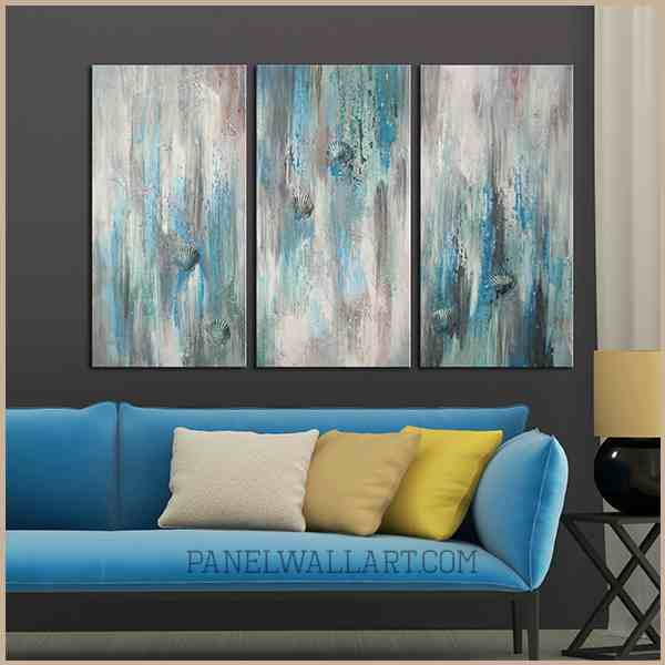 3 pieces blue and grey oil painting canvas framed wall art