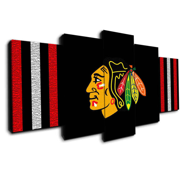 Chicago Blackhawks (Black) | Black Friday Cyber Monday Sale | Panel Wall Art Canvas