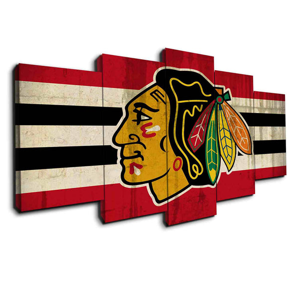 Chicago Blackhawks (Vintage Style) | Black Friday Cyber Monday Sale | Panel Wall Art Canvas