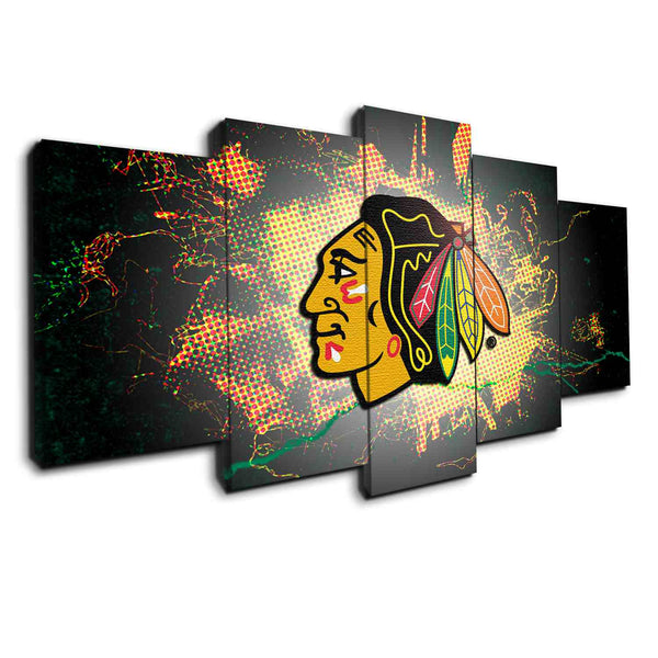 Chicago blackhawks 5 pieces canvas wall art pop art by panelwallart.com
