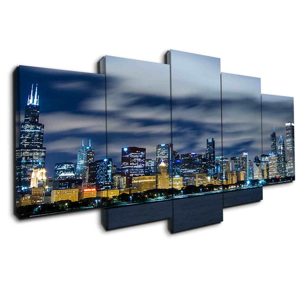 chicago night view skyline blue canvas wall art